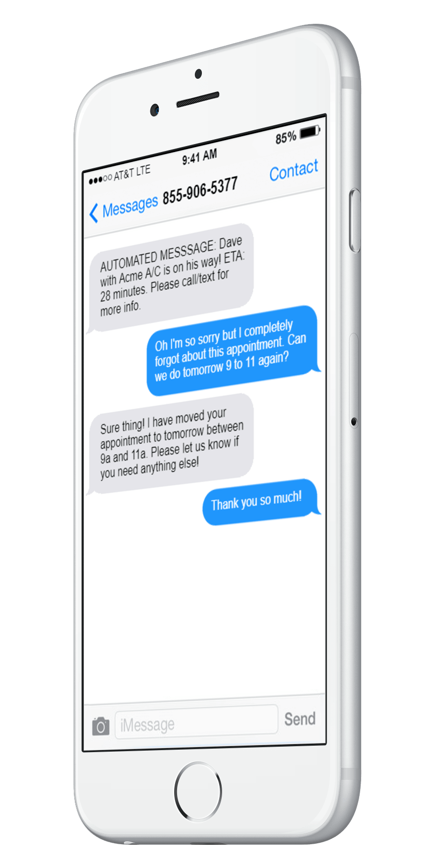 iPhone SMS With Customer